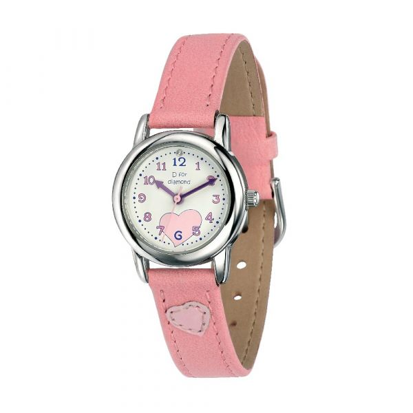 D For Diamond Watch With Light Pink Strap